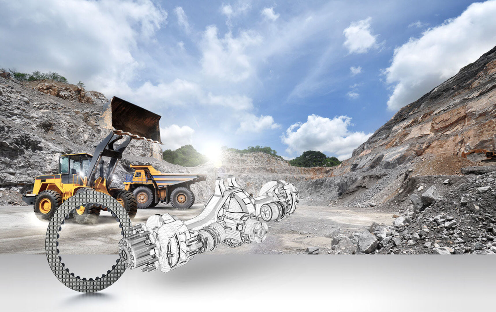 Image shows mining truck and excavator in the background and friction material part in the front