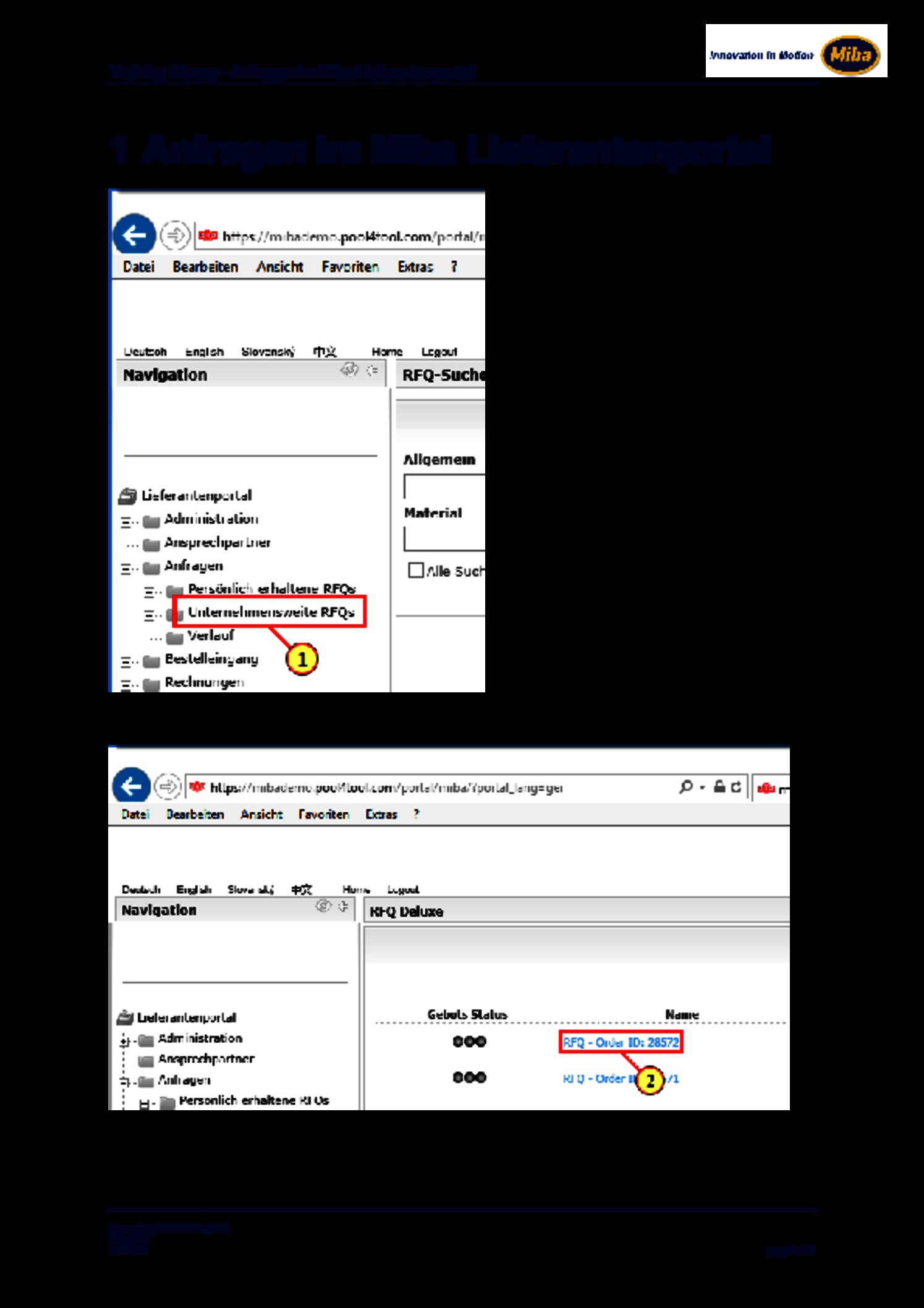 Pool4Tool: Anfragen im Miba Lieferantenportal