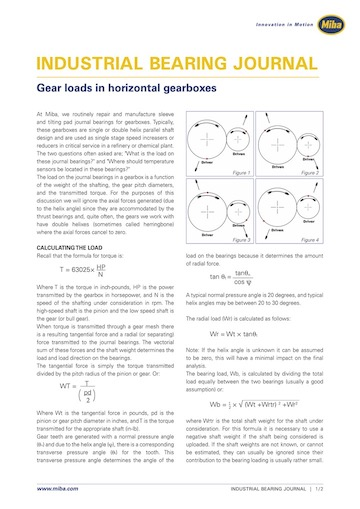Gear loads in horizontal gearboxes